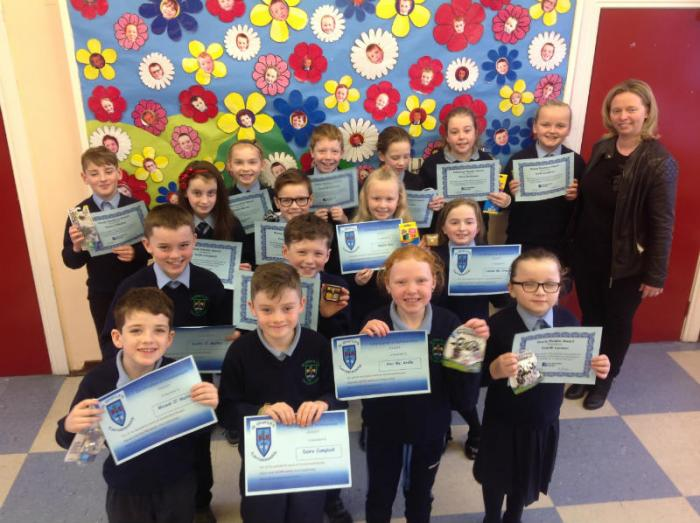 Accelerated Reading Award winners with Mrs Mc Creesh