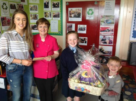 Mrs Murphy with Claire and raffle winner Cillian Murray